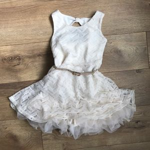 Toddler Girl ivory dress with belt - 3t
